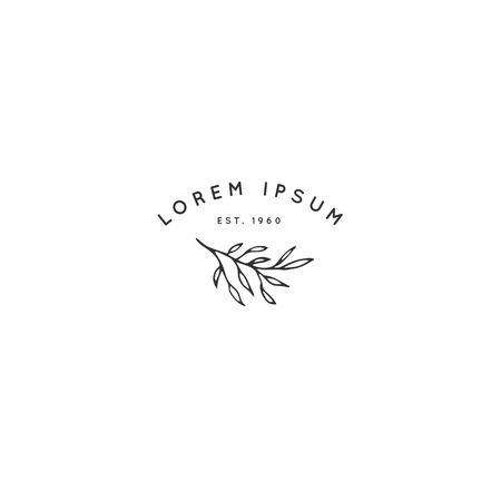 Vector floral hand drawn logo template in elegant and minimal style. Branch with leaves. Black on white illustration. For badges, labels, logotypes and branding business identity.