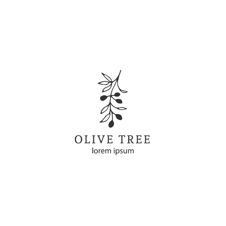 Vector floral hand drawn logo template in elegant and minimal style. Olive branch with leaves and berries. Black on white illustration. For badges, labels, logotypes and branding business identity.