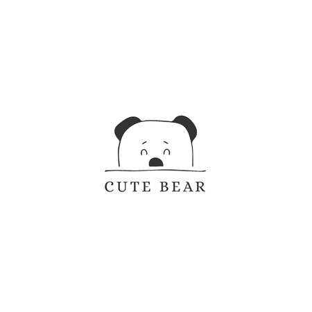 Hand drawn logo template, cute curious bear face. Logo element for children related business branding and identity. Black on white isolated symbol.