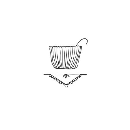 Élément de logo vectoriel dessiné à la main, un bol sur une serviette. Thème de la cuisine et de la nourriture. Symbole isolé pour l'image de marque et l'identité de l'entreprise, pour les cours de cuisine, pour les blogs culinaires et les sites Web.