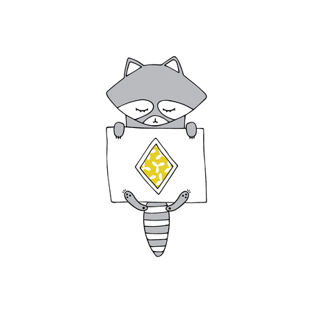 Vector hand drawn isolated element, sleepy raccoon under the blanket. Cute character. Simple modern design, Scandinavian style. For kids fashion, room decoration, wall art. Part of a large collection