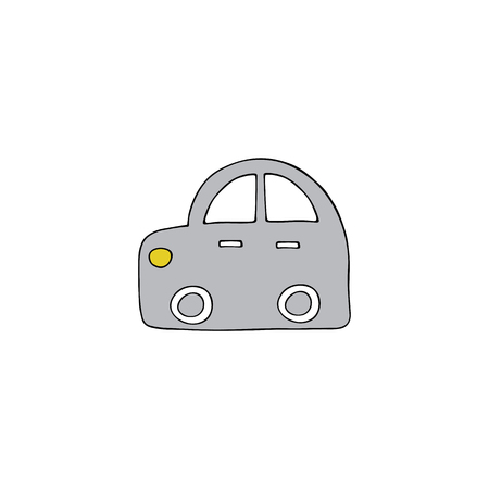 Vector hand drawn isolated element, a car toy. Simple modern design, Scandinavian style. For kids fashion, room decoration, wall art. Part of a large collection. Vettoriali