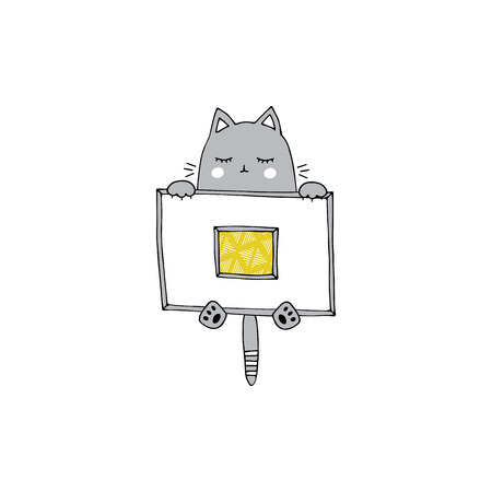 Vector hand drawn isolated element, sleepy kitten under the blanket. Cute character. Simple modern design, Scandinavian style. For kids fashion, room decoration, wall art. Part of a large collection