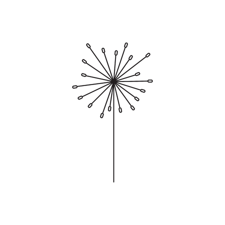 Vector thin line icon, flower on a stem. Elegant logo template. Design element for garden or flower shop, florist, natural cosmetics products. Isolated symbol. Simple mono linear modern design.