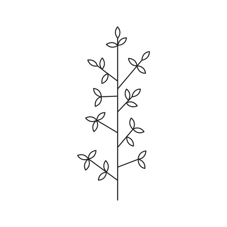 Vector thin line icon, leaves on a stem. Elegant  template. Design element for garden or flower shop, florist, natural cosmetics products. Isolated symbol. Simple mono linear modern design.