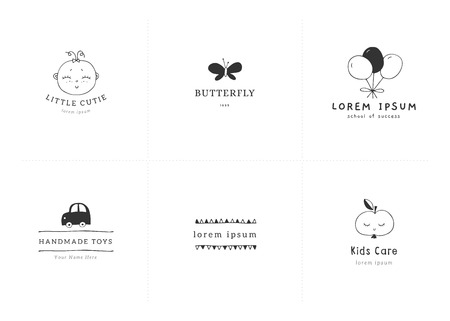 Premade logo templates for kids businesses. Vector set of hand drawn illustrations. For kids camp, club or shop branding , for professional nanny.