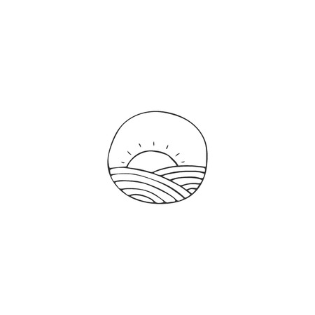 Organic food theme. Farm element. Vector hand drawn field and a sun. Isolated symbol for business branding and identity, for farmers markets, fairs, and grocery stores. Çizim