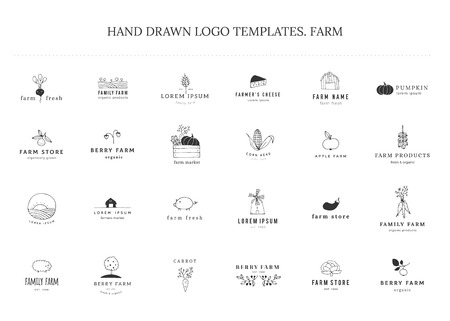 Farm and organic food theme. Set of vector hand drawn minimal templates. Isolated symbols for business branding and identity, for farmers markets, fairs, berry farms and grocery stores.  イラスト・ベクター素材