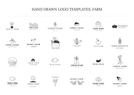 Thema Bauernhof und Bio-Lebensmittel. Satz von Vektor handgezeichneten minimalen Vorlagen. Isolierte Symbole für Business Branding und Identität, für Bauernmärkte, Messen, Beerenfarmen und Lebensmittelgeschäfte.