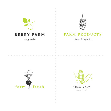 Farm and organic food theme. Set of vector hand drawn  templates. Isolated symbols for business branding and identity. For farmers markets, fairs, berry farms and grocery stores. Ilustrace