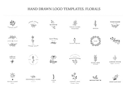 Vector set of floral hand drawn templates in elegant and minimal style. Isolated objects, flowers and branches with leaves. For badges, labels, branding business identity.