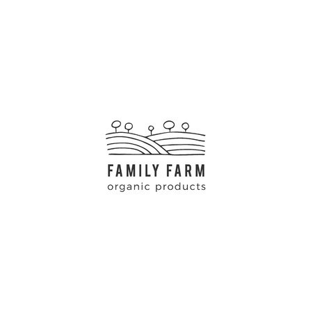 Organic food theme. Vector hand drawn landscape, field and trees. Farm template. Isolated symbol for business branding and identity, for farmers markets, fairs, and grocery stores. Illustration