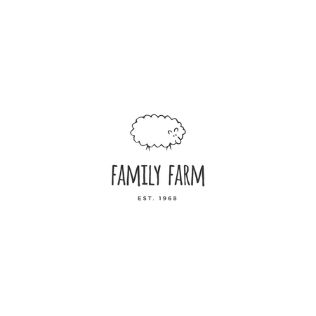 Farm and organic food theme. Hand drawn template. Vector object, a sheep. Isolated symbol for farmers markets and fairs, for business branding and identity. Stock Illustratie