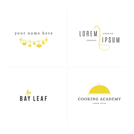 Kitchen and food logo templates set. Vector hand drawn colored illustration.