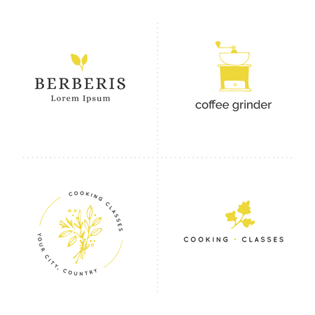 Vector hand drawn colored objects. Kitchen and food logo templates set. Isolated symbols for business branding and identity, for food blogs and websites, for grocery stores and cooking classes. Illustration