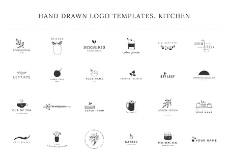 Kitchen and food theme. Set of vector hand drawn logo templates. For business branding and identity, for food blogs and websites, for cooking classes and grocery stores.