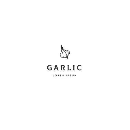Food logo template, garlic. Vector hand drawn object. Isolated symbol for business branding and identity, for food blogs and websites, for cooking classes. Kitchen theme. Ilustracja