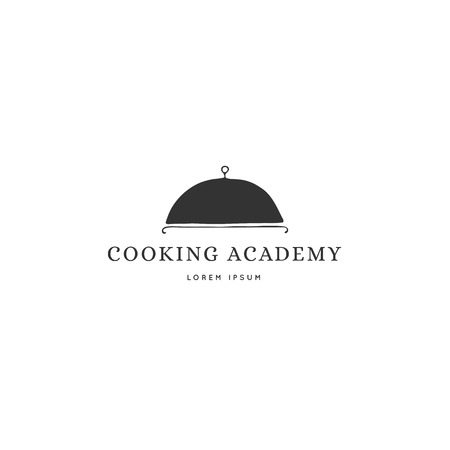 A dish, vector hand drawn logo template. Kitchen and food theme. Isolated symbol for business branding and identity, for food blogs and websites, for cooking classes.