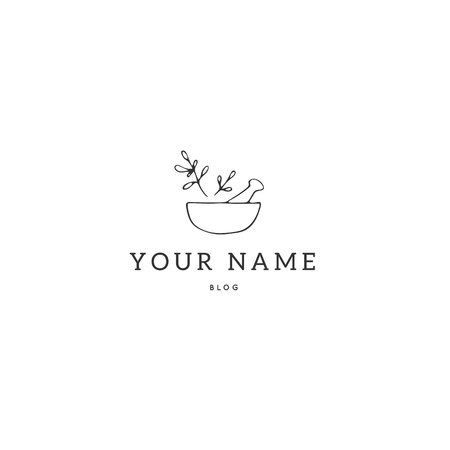 Kitchen logo template, a bowl with spices. Vector hand drawn object. Isolated symbol for business branding and identity, for food blogs and websites, for cooking classes. Food theme.