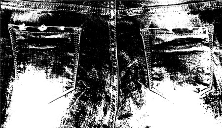 Vector detailed jeans texture. Back of denim pants with pockets. Abstract detailed fabric background. Put it over any design to create interesting vintage rustic effect and depth.