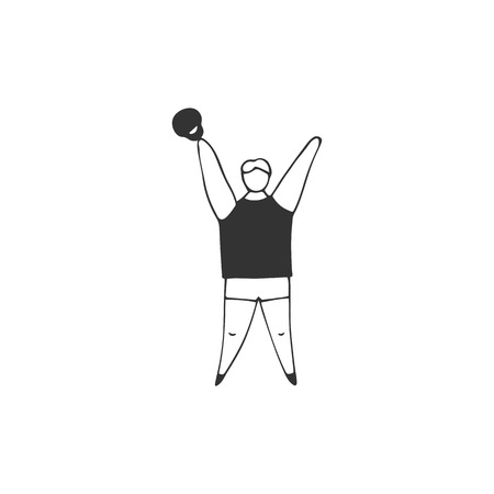 Overweight man engaged in the gym. Vector hand drawn icon. Plus size concept, body positive.