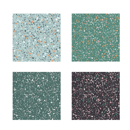 Set of vector seamless patterns. Modern trend illustration, italian terrazzo. Illustration