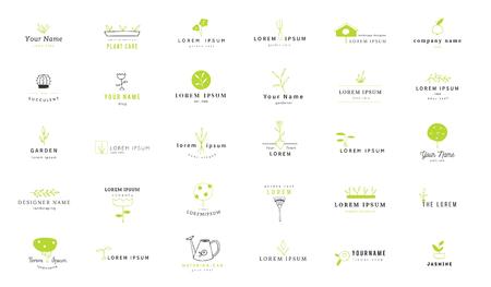 Conjunto de plantillas de logotipo de jardín de vector. Elementos aislados de colores dibujados a mano. Logos