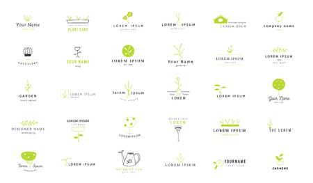 Vector garden logo templates set. Hand drawn colored isolated elements.