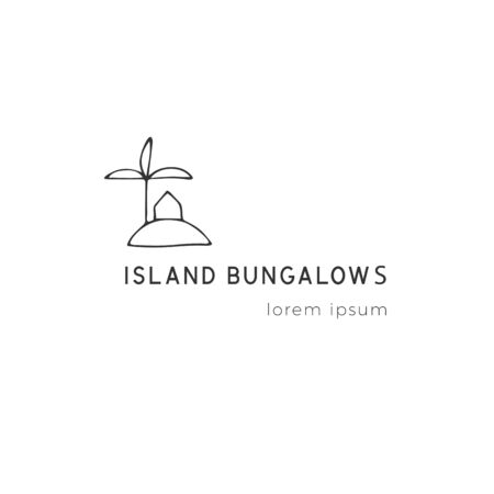 Property rental theme. Vector hand drawn logo template, a house on the island. For business branding and identity, for real estate agents and house owners.