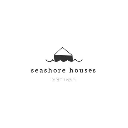 Property rental theme. Vector hand drawn logo template, a seafront bungalow. For business branding and identity, for real estate agents and house owners.