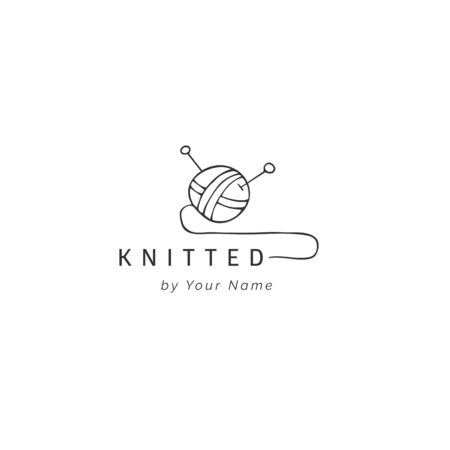 A ball of yarn, hand drawn vector logo template. Handmade and knitting theme. For branding, business identity, for authors of handicraft products.