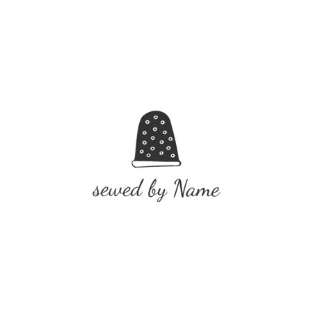 Vector hand drawn logo template with hand drawn graphic element. Thimble, handmade theme. For business identity and branding, for blogs and websites, for authors of handicraft products.