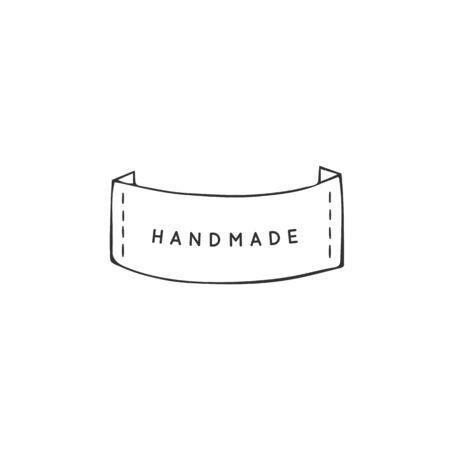 Hand drawn isolated illustration, white stripe. Vector handmade logo template. For business identity and branding, for blogs and websites, for authors of handicraft products.