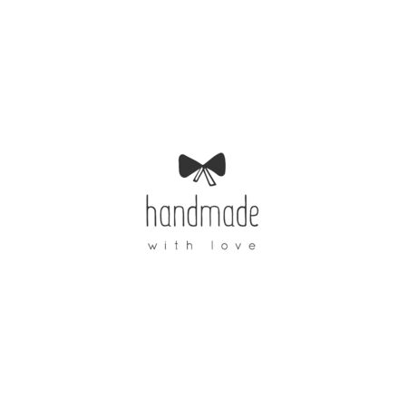 Vector handmade logo template with a little knot. Hand drawn isolated illustration. For business identity and branding, for authors of handicraft products.