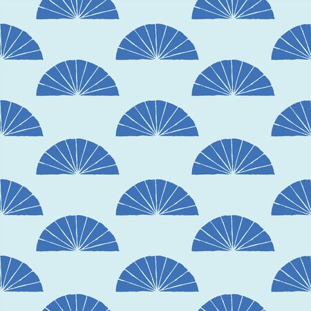 Japanese traditional surface design. Vector hand drawn seamless pattern with fans. For fabric prints, textile, wrapping paper.