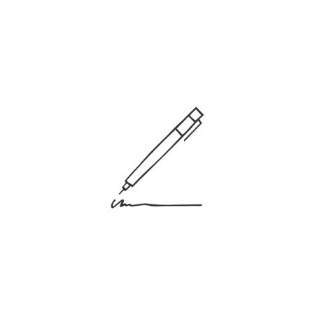 Vector hand drawn logo element, a pen icon. Writing, copywrite and publishing theme. For business identity and branding, for writers, copywriters and publishers, bloggers.