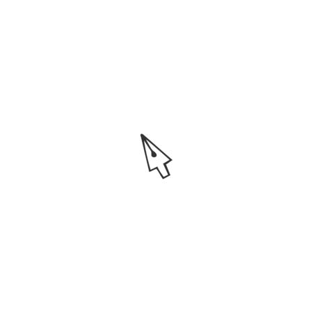Vector hand drawn icon, a pen tip in the shape of a cursor mouse pointer. Writing, copywrite and publishing. For business identity and branding, for writers, copywriters and publishers, bloggers.