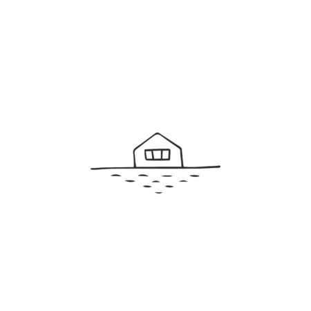Vector hand drawn icon, a house near water. Property rental theme. For business branding and identity, for real estate agents and house owners.