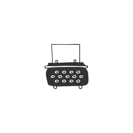 Vector hand drawn icon, a typewriter. Publishing, writing and copywriting theme. For business branding and identity, for writers, copywriters and publishers, for journalists and bloggers.  イラスト・ベクター素材