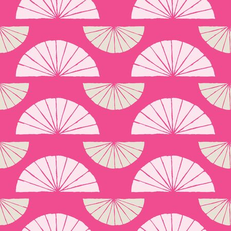 Japanese traditional surface design. Vector hand drawn seamless pattern with fans. Abstract illustration. For fabric prints, textile, wrapping paper. Vettoriali