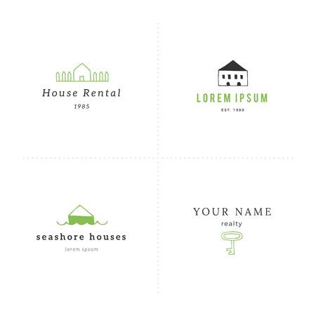 Set of hand drawn vector logo templates in colour. House rental theme. Vettoriali