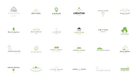 Set of vector hand drawn logo templates in colour. House rental theme.