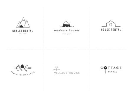 Set of vector hand drawn templates. Property rental theme.