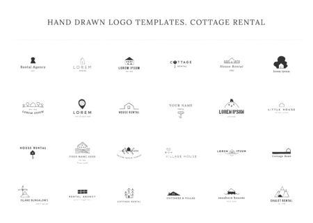 Set of hand drawn vector templates. House rental theme. Vettoriali