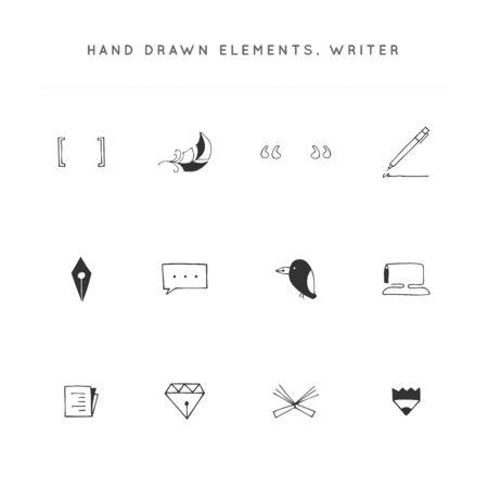 Writing, publishing and copywrite theme. Set of vector hand drawn icons. Ilustración de vector