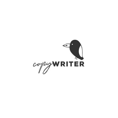 Writing, publishing and copywriting theme. Vector hand drawn logo template, a bird with a pen tip beak.
