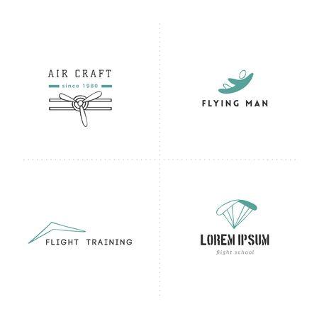 Set of hand drawn  templates. Sky sports colored vector elements. Ilustração