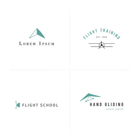 Vector sky sports colored elements. Set of hand drawn logo templates.