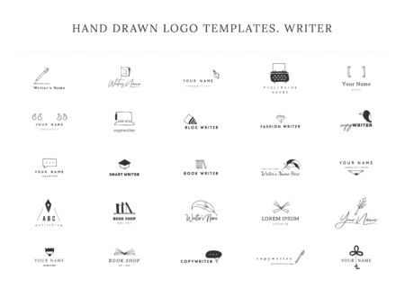 Writing, publishing and copywrite theme. Set of hand drawn vector   templates. For business identity and branding, for writers, copywriters and publishers, for journalist, poets and bloggers.