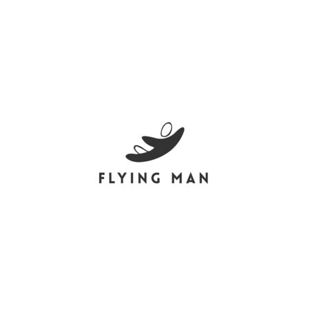 Hand drawn vector icon of a flying man. Sky sports   template. Parachuting, skydiving, freedom.